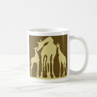 Giraffes, Dark Brown Back, Yellow Foreground Coffee Mug