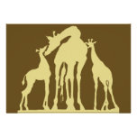 Giraffes, Dark Brown Back, Yellow Foreground Personalized Invitations