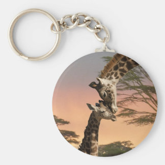 Giraffes Greeting Each Other Basic Round Button Keychain