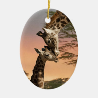 Giraffes Greeting Each Other Double-Sided Oval Ceramic Christmas Ornament