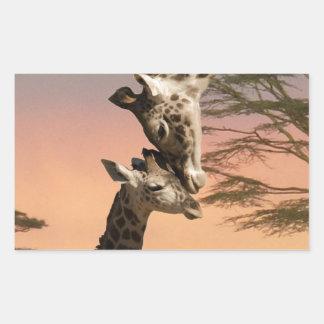 Giraffes Greeting Each Other Rectangular Sticker