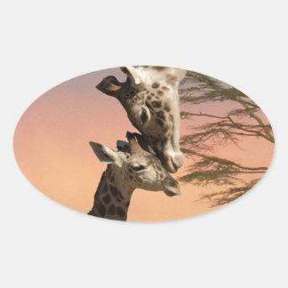 Giraffes Greeting Each Other Oval Sticker
