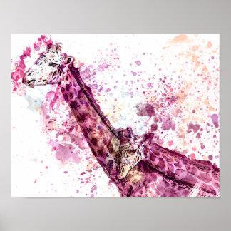 Giraffe's Hugging in Pink Poster