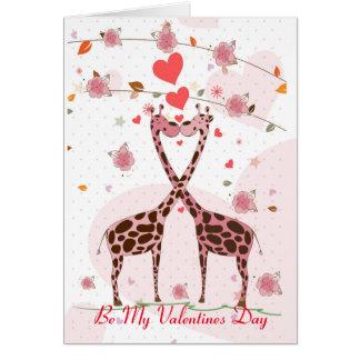 Giraffes In Love Be My Valentines Card