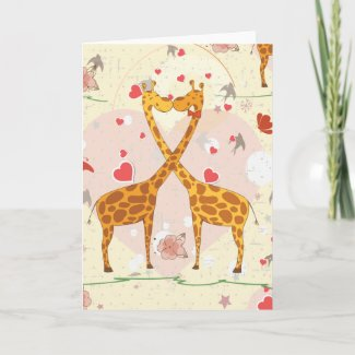 Giraffes in Love Cards