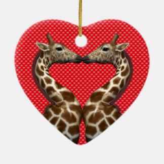 Giraffes In Love Ceramic Ornament