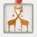 Giraffes in Love Christmas Tree Ornament