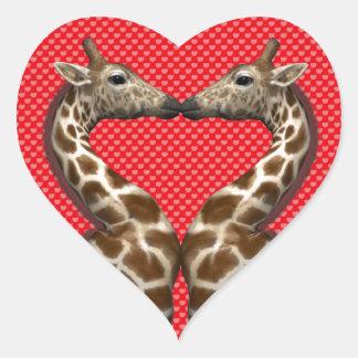 Giraffes In Love Heart Sticker