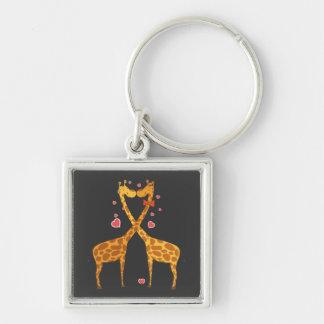 Giraffes in Love Silver-Colored Square Keychain