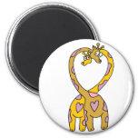 giraffes in love magnets