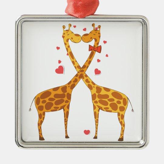 Giraffes in Love Metal Ornament