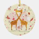 Giraffes in Love Ornaments
