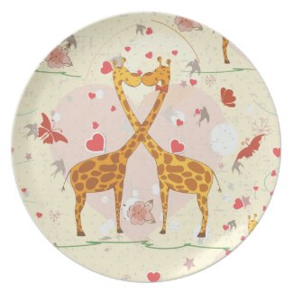 Giraffes in Love plate