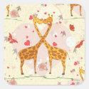 Giraffes in Love Square Sticker