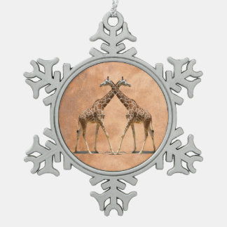 GIRAFFES IN PASSING SNOWFLAKE PEWTER CHRISTMAS ORNAMENT