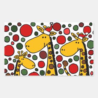 Giraffes in Santa Hats Christmas Art Rectangle Sticker