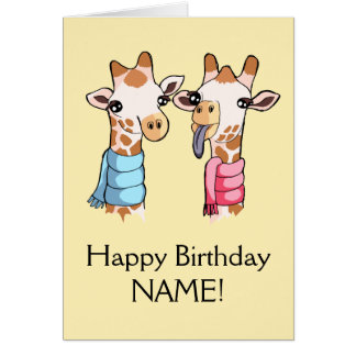 Giraffes in Scarves Drawing Birthday Card Template