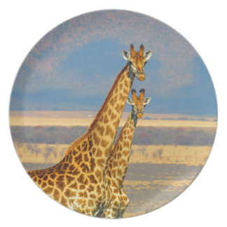 Giraffes in South Africa beautiful nature scenery Dinner Plate