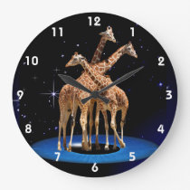 GIRAFFES IN SPACE LARGE CLOCK