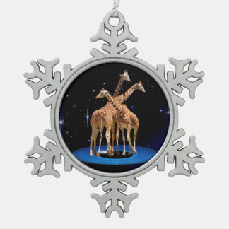 GIRAFFES IN SPACE SNOWFLAKE PEWTER CHRISTMAS ORNAMENT