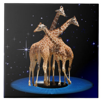 GIRAFFES IN SPACE LARGE SQUARE TILE