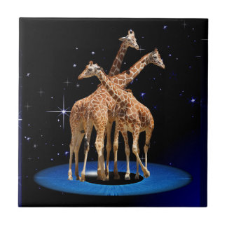 GIRAFFES IN SPACE SMALL SQUARE TILE