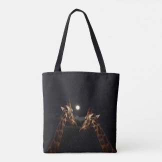 Giraffes_In The Moonlight._Med_Tote_Full_Print_Bag Tote Bag
