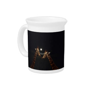 Giraffes_In The Moonlight._Milk_Jug Beverage Pitcher