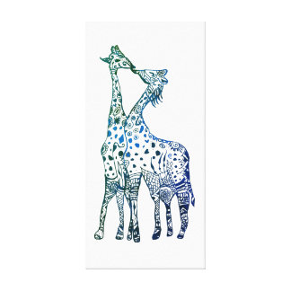 Giraffes Kiss Drawing Single Print