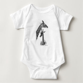 giraffes, mother and child baby bodysuit