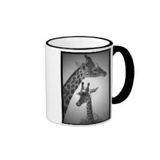 giraffes, mother and child ringer coffee mug