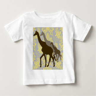 Giraffes on Damask Floral - Yellow and Grey. Baby T-Shirt