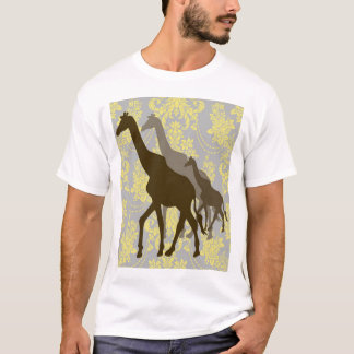 Giraffes on Damask Floral - Yellow and Grey. T-Shirt