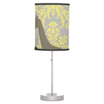 Giraffes on Damask Floral - Yellow and Grey. Table Lamp