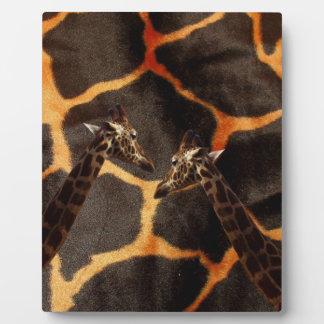 Giraffes On Exotic Giraffe Background, Plaque