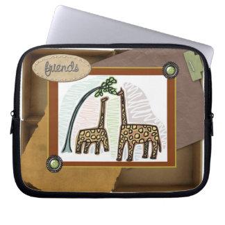 giraffes on laptop case cover