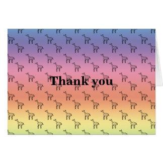 Giraffes on rainbow pastel greeting card