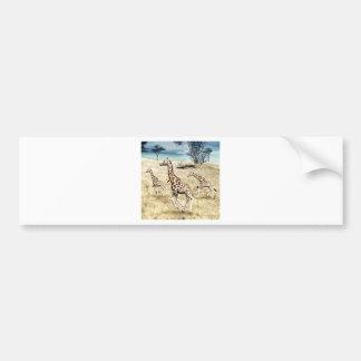Giraffes on the Savanna Plain Car Bumper Sticker