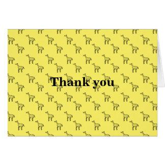 Giraffes on yellow greeting card