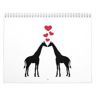 Giraffes red hearts love wall calendar