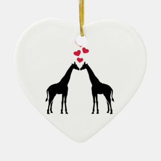 Giraffes red hearts love christmas tree ornament