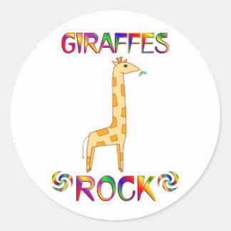 GIRAFFES ROCK CLASSIC ROUND STICKER