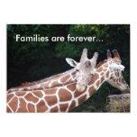 "giraffes rubbing necks, Families are forever... 5"" X 7"" Invitation Card"