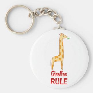 Giraffes Rule Basic Round Button Keychain