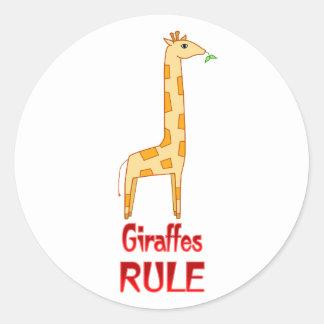Giraffes Rule Classic Round Sticker