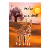 Giraffes Safari Zoo Post Wedding Invitation