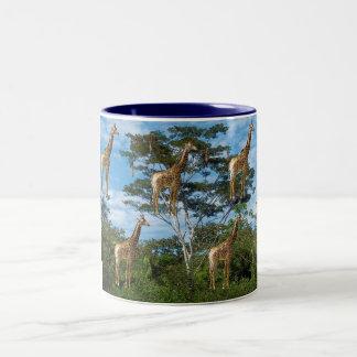 giraffes - the image is artistic effects Two-Tone coffee mug