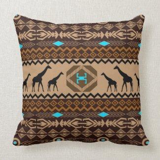 Giraffes & Tribal Pattern Brown Blue Accents Pillow