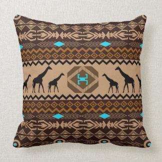 Giraffes & Tribal Pattern Brown Blue Accents Throw Pillow