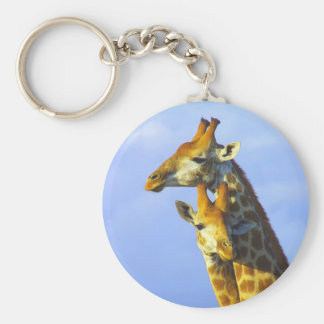Giraffes under blue sky keychain